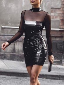 Black Patchwork Grenadine Latex Band Collar Glitter Bodycon Club Party Mini Dress
