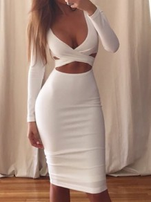 White Cut Out Deep V-neck Long Sleeve Homecoming Prom Clubwear Party Hip Bodycon Midi Dress