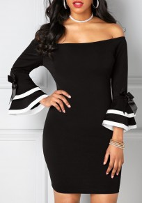Black Bow Off Shoulder Backless Bodycon Bell Sleeve Party Mini Dress