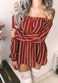 Red Striped Print Boat Neck Off Shoulder Backless Long Sleeve Casual Mini Dress