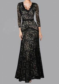 Black Floral Lace Draped V-neck Long Sleeve Prom Evening Party Maxi Dress