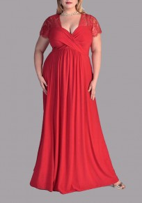 Red Patchwork Zipper Lace Plus Size Deep V-neck Short Sleeve Elegant Maxi Dress