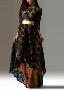 Black Floral Swallowtail High-low Round Neck Long Sleeve Party Maxi Dress