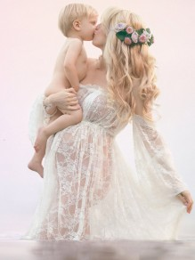 White Patchwork Lace Off Shoulder Slit Backless Maternity Puff Sleeve Maxi Dress