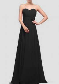 Black Draped Bandeau Sleeveless Elegant Wedding Gowns Maxi Dress