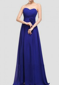 Blue Draped Bandeau Sleeveless Elegant Wedding Gowns Maxi Dress