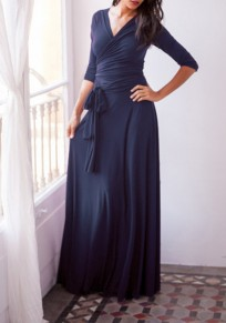Black Cut Out Backless Draped Long Sleeve Elegant Cocktail Party Maxi Dress