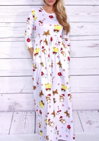 White The Gingerbread Man And Small Bell Print Pleated Christmas Maxi Dress