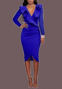 Sapphire Blue Ruffle Irregular Ruched Deep V-neck Bodycon Party Midi Dress