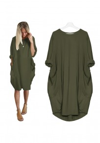 Army Green Pockets Irregular Ruffle Round Neck Elegant Midi Dress