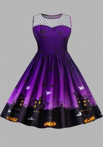 Purple Patchwork Grenadine Pleated Pumpkin Print Halloween Plus Size Tutu Midi Dress
