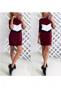 Wine Red Patchwork Round Neck Elbow Sleeve Fashion Mini Dress