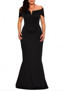 Black Bandeau Zipper Off Shoulder Backless Plus Size Banquet Prom Party Maxi Dress
