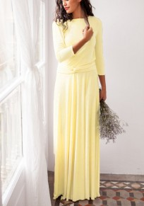 Yellow Plain Sashes Irregular V-neck Fashion Maxi Dress