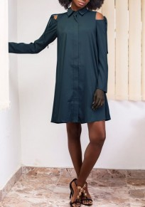 Dark Green Cut Out Buttons Turndown Collar Long Sleeve Fashion Mini Dress