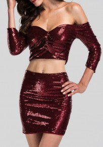 Wine Red Sequin Irregular Cut Out Boat Neck 3/4 Sleeve Mini Dress