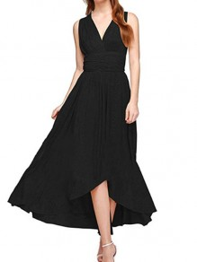 Black Draped Irregular Tie Back Backless Bridesmaid Prom Party Maxi Dress