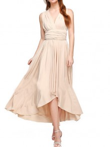 Champagne Draped Irregular Tie Back Backless Bridesmaid Prom Party Maxi Dress