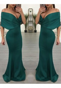 Burgundy Off Shoulder Open Back Mermaid Prom Evening Party Maxi Dress
