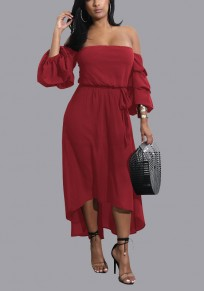 Burgundy Sashes High-low Off Shoulder Backless 3/4 Sleeve Homecoming Party Midi Dress