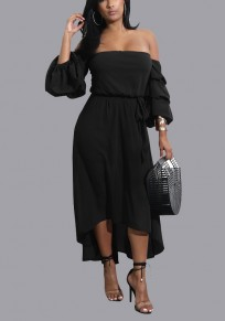 Black Sashes High-low Off Shoulder Backless 3/4 Sleeve Homecoming Party Midi Dress