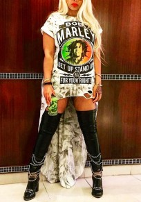White Bob Marley Print Swallowtail High-Low Rock And Roll Tee Mini Dress