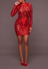 Red Sequin Grenadine Zipper Bodycon Band Collar Homecoming Party Mini Dress