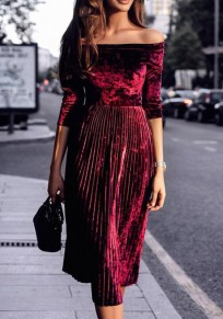 Wine Red Pleated Boat Neck Long Sleeve Corduroy Midi Dress