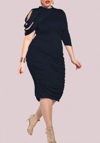Black Irregular Cut Out Long Sleeve Prom Bodycon Plus Size Midi Dress
