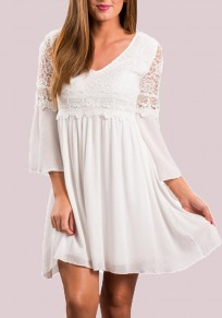 White Patchwork Lace Draped Flare Sleeve Deep V-neck Party Mini Dress