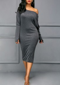 Grey Asymmetric Shoulder Long Sleeve Fashion Midi Dress