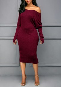 Wine Red Asymmetric Shoulder Long Sleeve Fashion Midi Dress