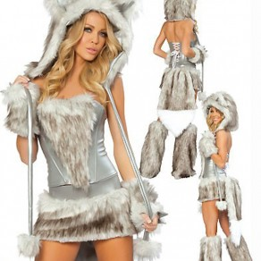 Grey Patchwork Fur Drawstring Christmas Girl Temptation Mini Dress