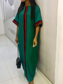 Green Tribal Plus Size Christmas 3/4 Sleeve Party Maxi Dress