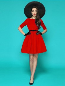 Red Belt Pleated Backless Tutu Cute Elbow Sleeve Christmas Party Mini Dress