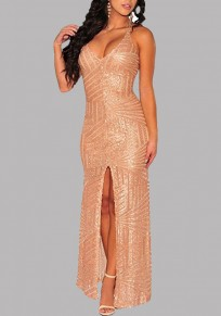 Rose Gold Sequin Cross Back Backless High Slit Banquet Party Prom Maxi Dress