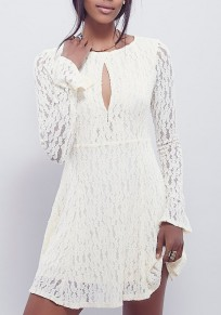 White Floral Lace Cut Out Long Sleeve Homecoming Party Mini Dress