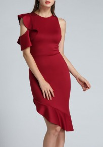 Burgundy Irregular Cut Out Ruffle One Shoulder Banquet Homecoming Midi Dress