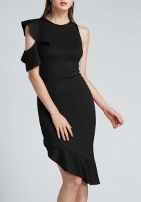 Black Irregular Cut Out Ruffle One Shoulder Banquet Homecoming Midi Dress