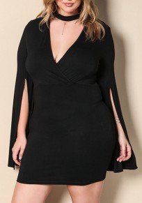 Black Irregular Cut Out Plus Size Slit Homecoming Party Mini Dress
