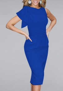 Blue Irregular Sleeveless Knee Length Fashion Midi Dress