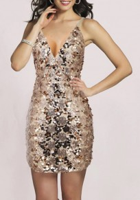 Champagne Irregular Sequin Cross Back Sleeveless Mini Dress