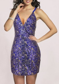 Blue Irregular Sequin Cross Back Sleeveless Mini Dress