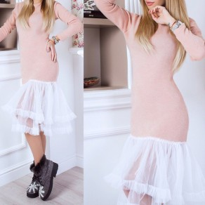Pink Patchwork Grenadine Mermaid Round Neck Long Sleeve Sweet Midi Dress