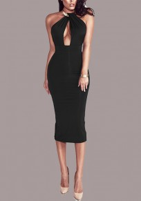 Black Cut Out Metal Collar Halter Neck Backless Bodycon Club Midi Dress