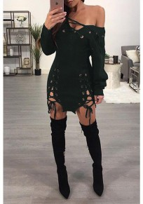Dark Green Cut Out Asymmetric Shoulder Lace-up Long Sleeve Club Sweater Mini Dress