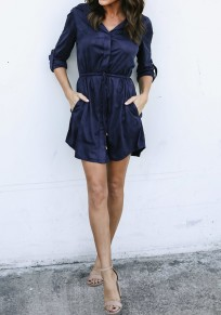 Navy Blue Drawstring Pockets Studded Turndown Collar Fashion Mini Dress