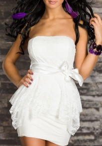White Floral Lace Sashes Backless Off Shoulder Prom Evening Party Mini Dress