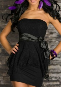 Black Floral Lace Sashes Backless Off Shoulder Prom Evening Party Mini Dress