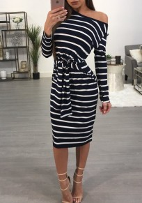 Black Striped Asymmetric Shoulder One Off Shoulder Lace-Up Bodycon Casual Midi Dress